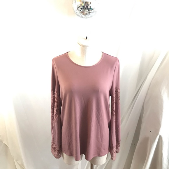 af58956e05704c Adrianna Papell Tops   Mauve Long Bell Sleeve Lace Blouse   Poshmark